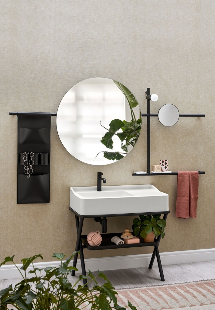 Talco washbasin, Rovere Nero framework of washbasin and mirror, Rovere Nero tray, Black leather storage bag