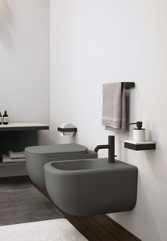 Wall-hung wc and bidet - Cemento
