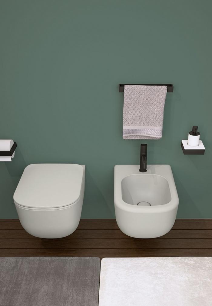 Wall-hung wc and bidet - Cemento