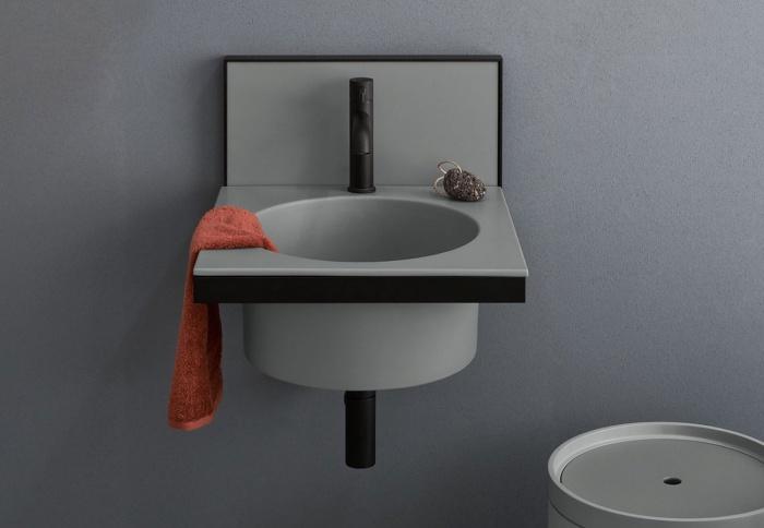 Brina washbasin and backsplash, Black Matt framework