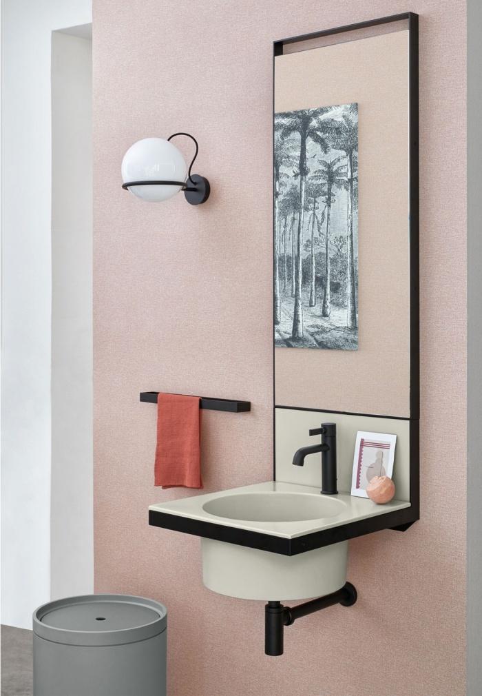 Pomice washbasin and backsplash, Black Matt framework, Black Matt towel rail