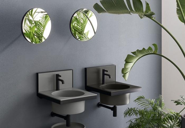 Brina and Cemento washbasin and backsplash, Black Matt framework, Pluto mirror