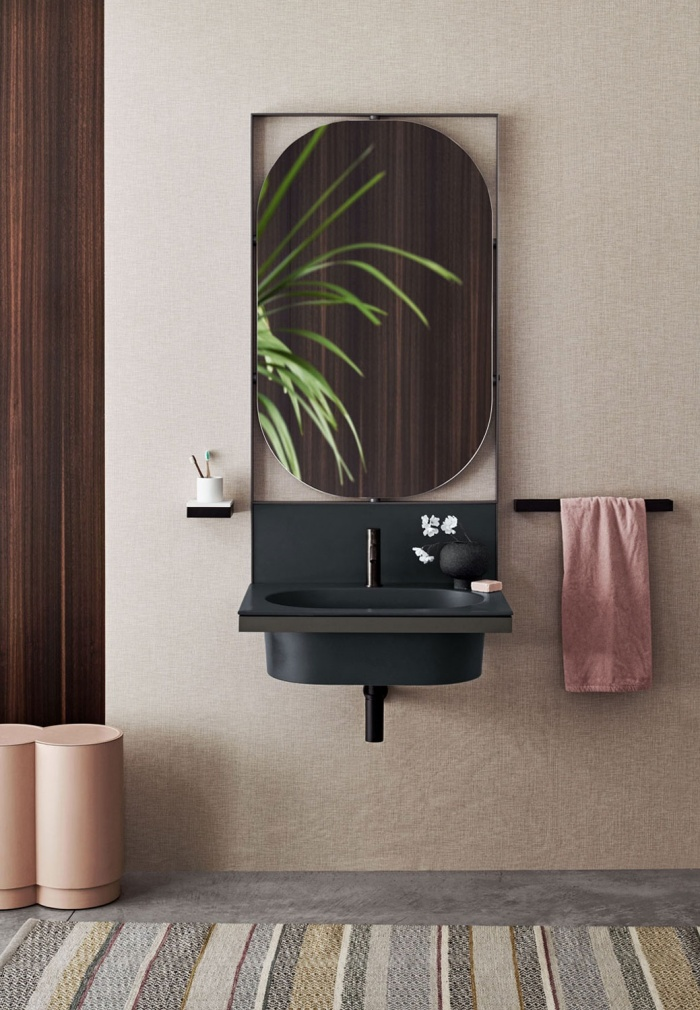 Lavabo washbasin and backsplash, Cemento framework, Black Matt accessories