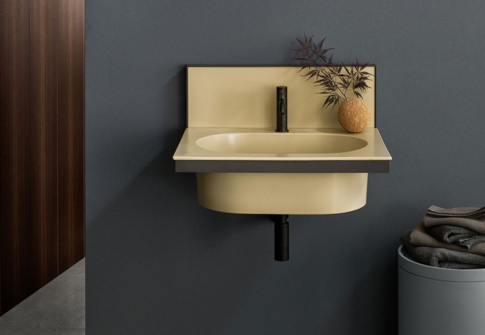 Canapa washbasin and backsplash, Black Matt framework