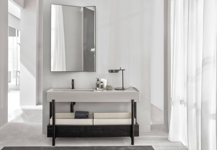 Plinio Pomice washbasin, Rovere Nero drawer and framework, Pan mirror