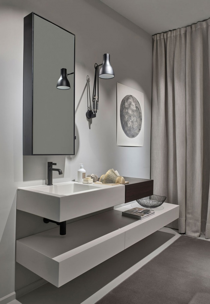Talco Narciso Mini washbasin, Eucalipto 54 lateral drawer, 76 and 130 Talco drawers, Simple Tall Box mirrors