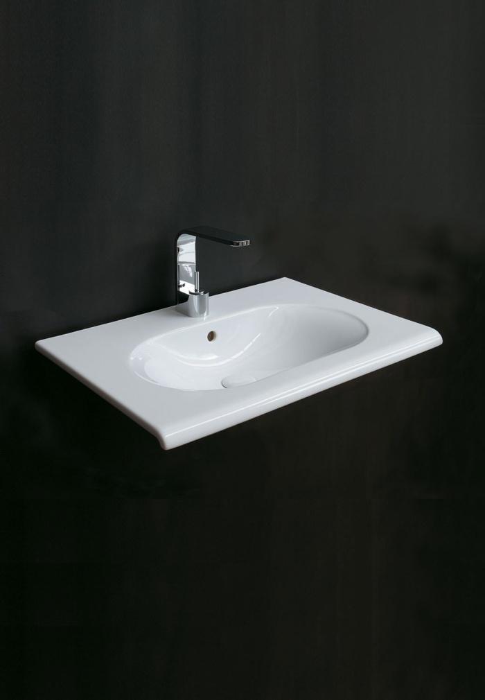 Fluid 80 washbasin Glossy White finish