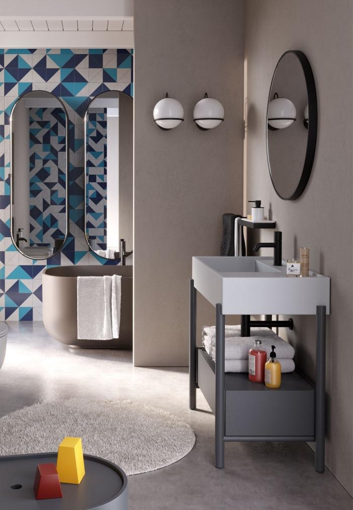 Plinio Pomice washbasin, Cemento drawer and framework, Round 75 mirror