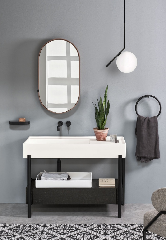 Plinio Talco basin 115. Rovere Nero drawer. Matt Black framework. Oval Box Ninfea mirror