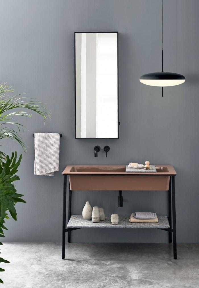 Ninfea washbasin, Nero Matt framework of washbasin, Azul Noche marble top, Matt Black Simple Tall Box mirror.