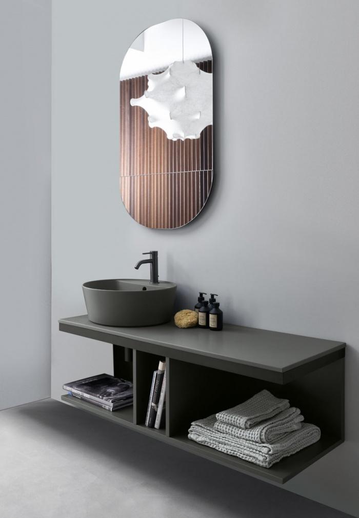 Cemento Handy washbasin, 120 Cemento countertops, Cemento open day cabinet, Black Matt framework and towel rail, Eos mirror