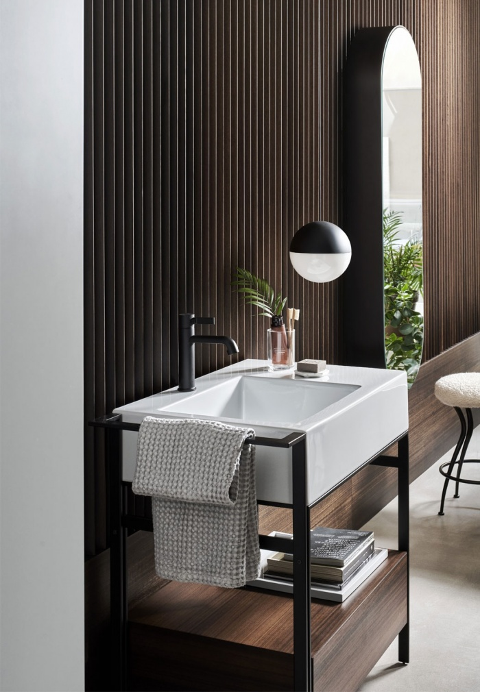 Narciso mini Glossy White washbasin, Eucalipto lacquered  drawer unit, Matt Black steel framework and box, Elio mirror Matt Black