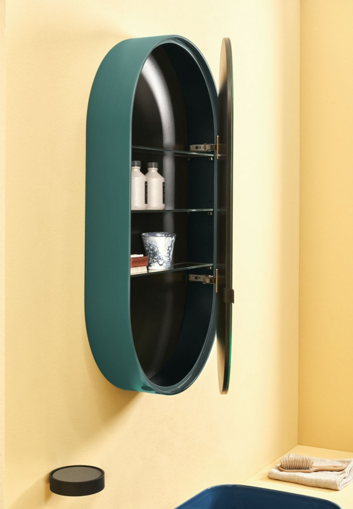 Espejo Oval Box. Acabado Smeraldo