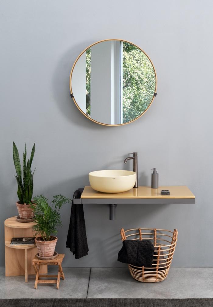 Multiplo 90: Era Small on top bowl Canapa, top Anemone, framework Cemento, Round Box 75 mirror Anemone